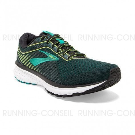 BROOKS GHOST 12 Homme | Black/Lime/Blue Grass
