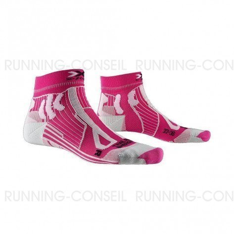 X-SOCKS Chaussettes Trail Run Energy Femme   Flamingo Pink / Pearl Grey