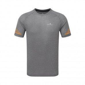 RONHILL Tee-shirt manches courtes STRIDE Homme   Grey Marl/Sunburst   Collection Printemps-Été 2019
