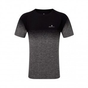 RONHILL Tee-Shirt manches courtes MARATHON INFINITY Homme   Black/Grey Marl   Collection Printemps-Été 2019
